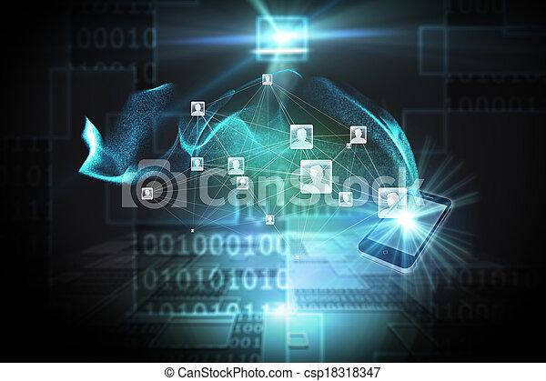 合成, 背景, 社会, ネットワーク, イメージ - csp18318347