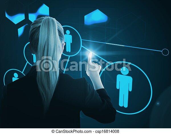 合成, 背景, 青, 未来派, 白熱, 女性実業家, イメージ, 指すこと, somewhere - csp16814008
