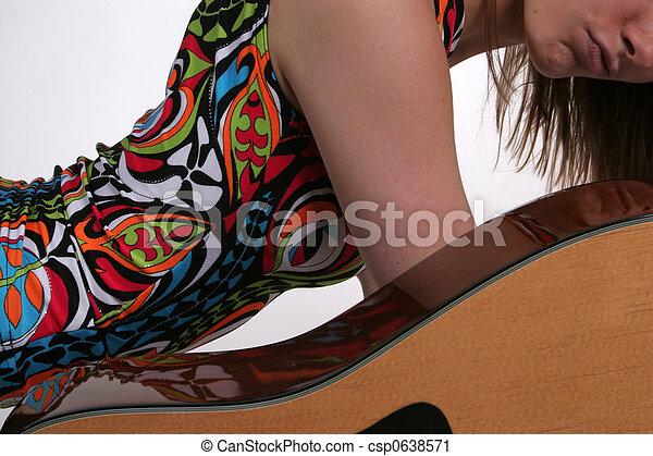 吉他, 女性, 曲線 - csp0638571