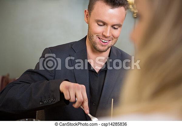 同僚, ビジネスマン, 食事, 女性, 持つこと - csp14285836