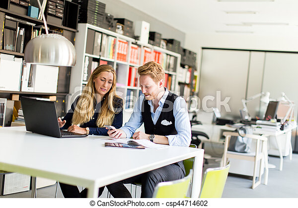 同僚, 女, オフィス, 仕事, 肖像画, マレ - csp44714602