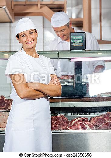 同僚, 確信した, 店, 肉屋, 仕事 - csp24650656