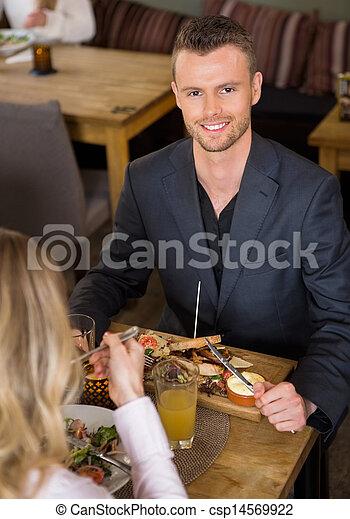 同僚, 食物, 女性, ビジネスマン, カフェ, 持つこと - csp14569922