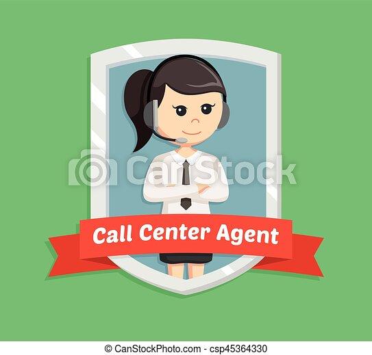呼出し, 女, 紋章, 中心 - csp45364330
