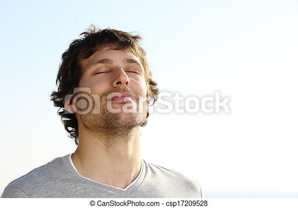 呼吸, 屋外, 魅力的, 人 - csp17209528