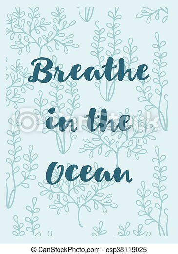 呼吸, 海草, グリーティングカード, 海洋 - csp38119025