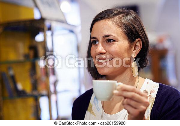 咖啡, 妇女, 酒吧, 人们, 浓咖啡, 喝 - csp20153920