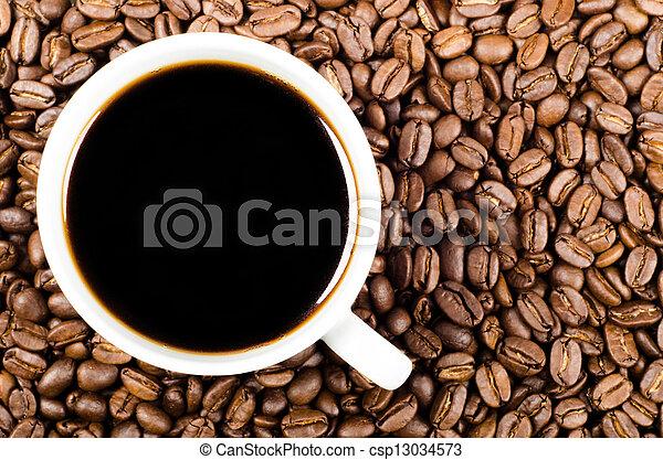 咖啡, 空間, 過濾器, 豆, 黑色, 模仿 - csp13034573