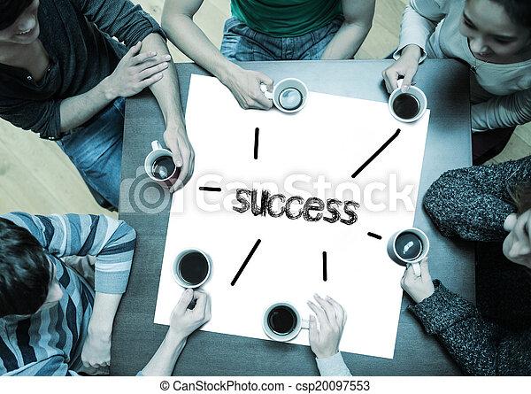 咖啡, 詞, 大約, 成功, 坐, 人們, 桌子, 喝酒, 頁 - csp20097553