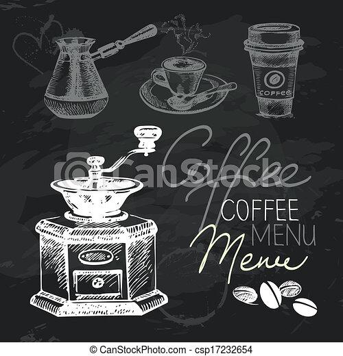 咖啡, set., 结构, 手, 粉笔, 设计, 黑板, 画, 黑色 - csp17232654