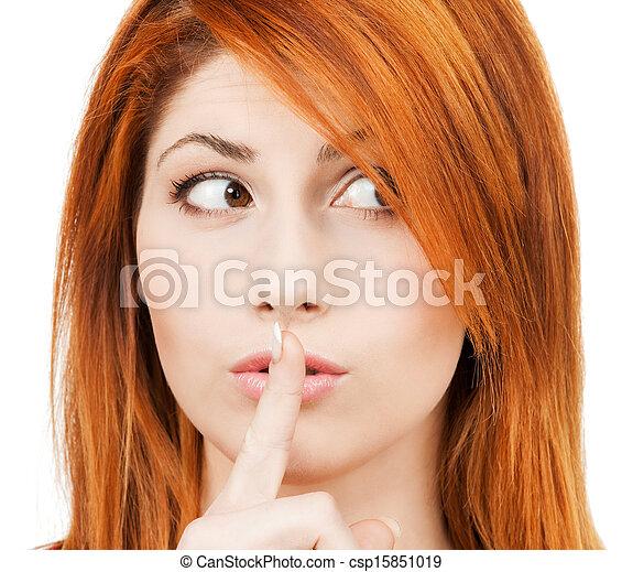 唇, 女, 指, 彼女 - csp15851019