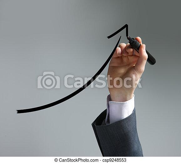 商人, 屏幕, 圖畫, 圖表, uptrend - csp9248553
