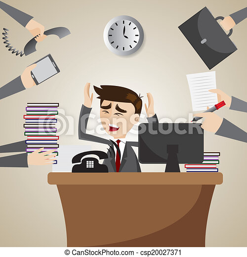 商人, 忙, 卡通, 工作, 時間 - csp20027371