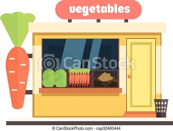 商店, 蔬菜, 矢量, 插圖, front. - csp32460444