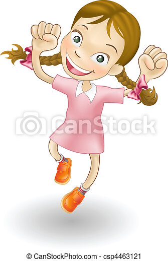 喜び, 女の子, 跳躍, 若い - csp4463121