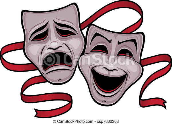 喜劇, 劇場, 悲劇マスク - csp7800383