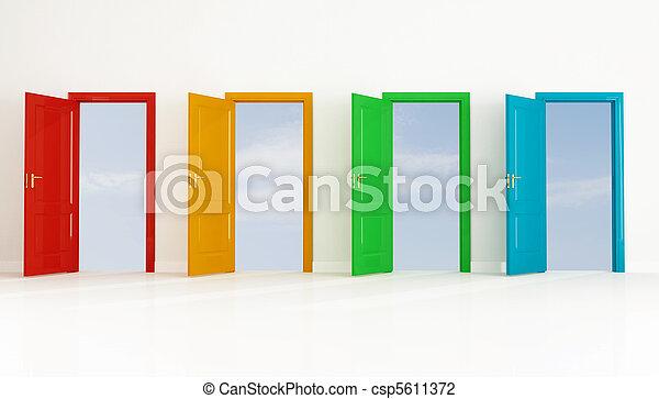 四, 打開門, 上色 - csp5611372