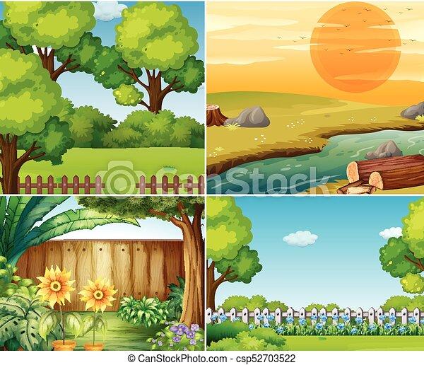 四, 樹, 花園, 場景 - csp52703522