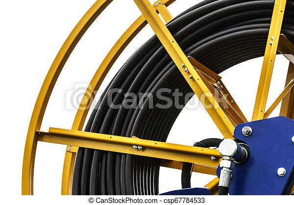 回転した, ケーブル, 産業, 巻き枠, の上 - csp67784533
