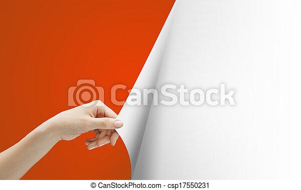 回転, ページ, 赤, 手 - csp17550231