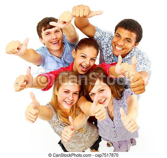 团体, 人们, 结束, 隔离, 白色, 临时工, 开心 - csp7517870
