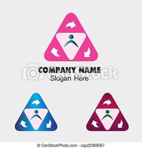 团体, 符号, 三角形, 人们 - csp22369567