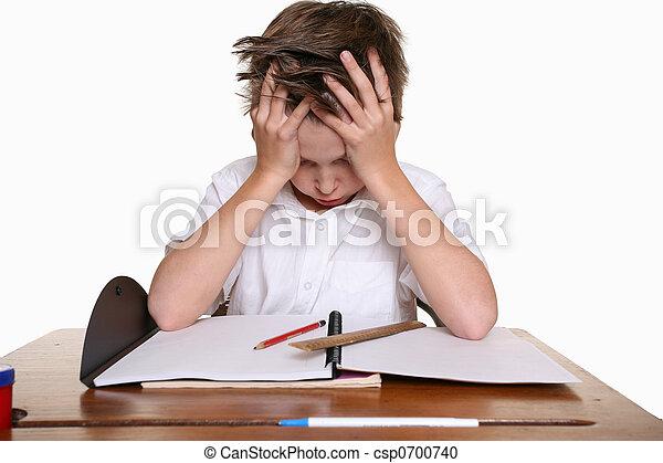 困難, 勉強, 子供 - csp0700740