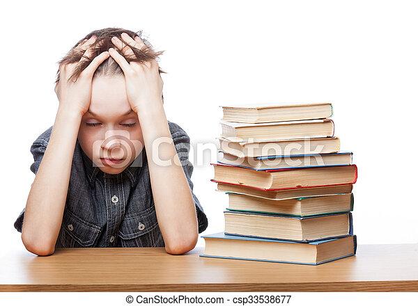 困難, 失望させられた, 勉強, 子供 - csp33538677