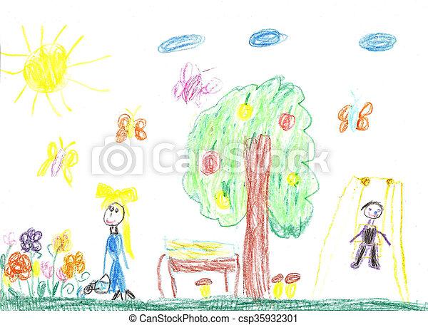 図画, 家族, 子供 - csp35932301