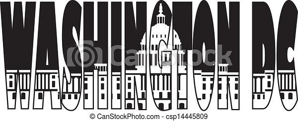 国会議事堂, テキスト, washington d.c., イラスト, アウトライン - csp14445809