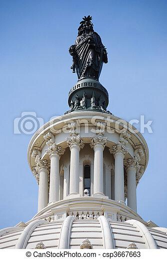 国会議事堂, 自由, 上に, washington d.c., 像, 丘 - csp3667663