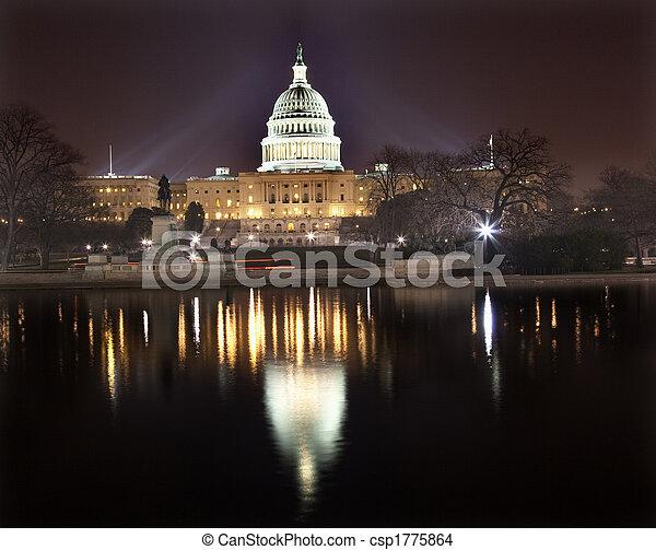 国会議事堂, washington d.c., 私達, 夜, 反射 - csp1775864