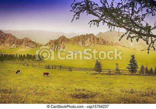 国民, キャンプ, 公園, yourt, terelj - csp15764237