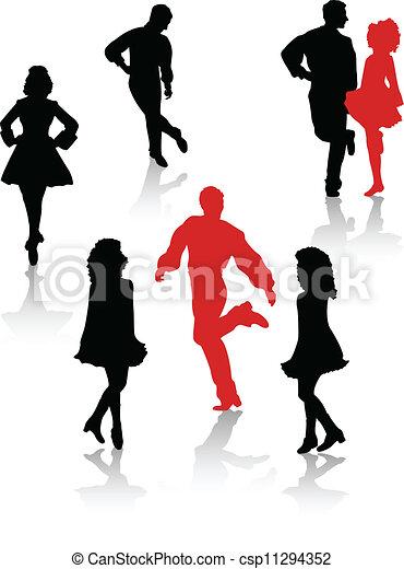 国民, ダンサー, シルエット, 人々 - csp11294352