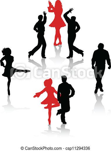 国民, ダンサー, シルエット, 人々 - csp11294336