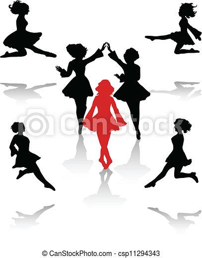 国民, ダンサー, シルエット, 人々 - csp11294343