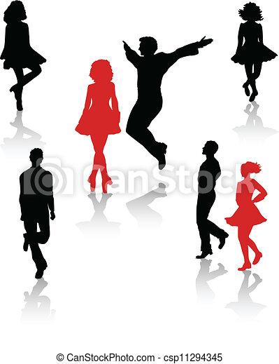 国民, ダンサー, シルエット, 人々 - csp11294345