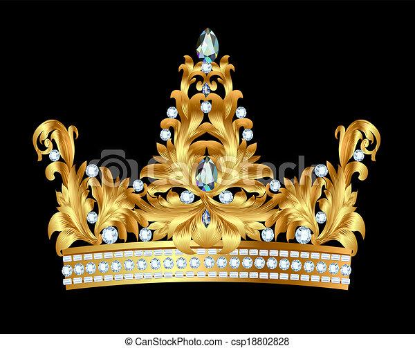 国王の王冠, 金, 宝石 - csp18802828