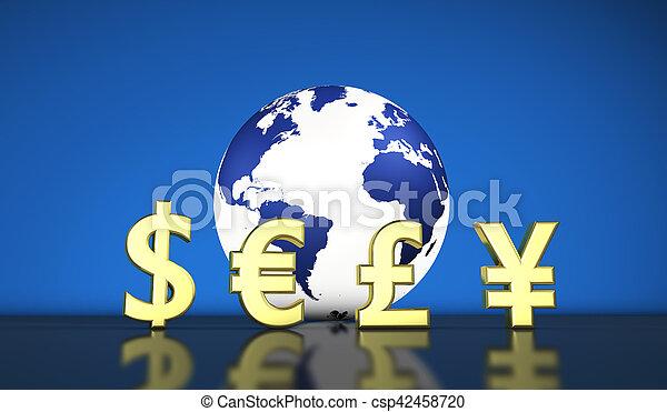 国際的な経済, 交換, 世界の 通貨 - csp42458720