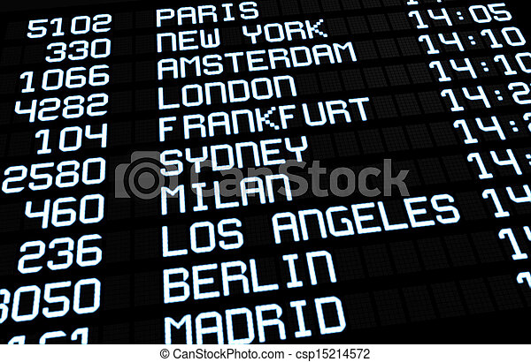 国際空港, 板, ディスプレイ - csp15214572