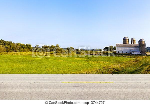 国, アメリカ人, 側, 道, 光景 - csp13744727