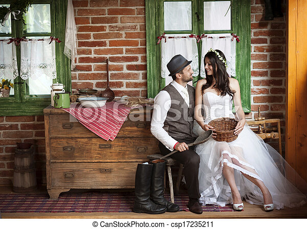 国, スタイル, 花婿, 結婚式, 花嫁 - csp17235211