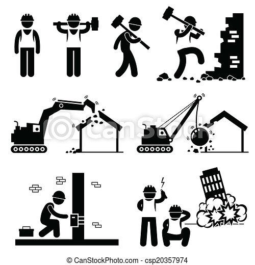 图标, 摧毁, 爆破, 建筑物 - csp20357974