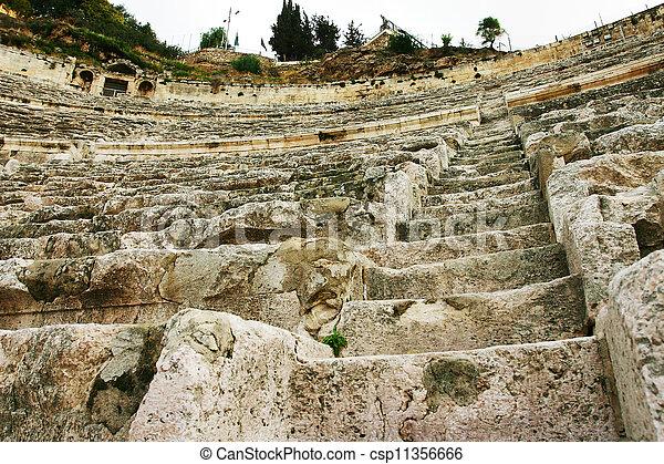 圆形剧场, 石头, 角度, 低 - csp11356666