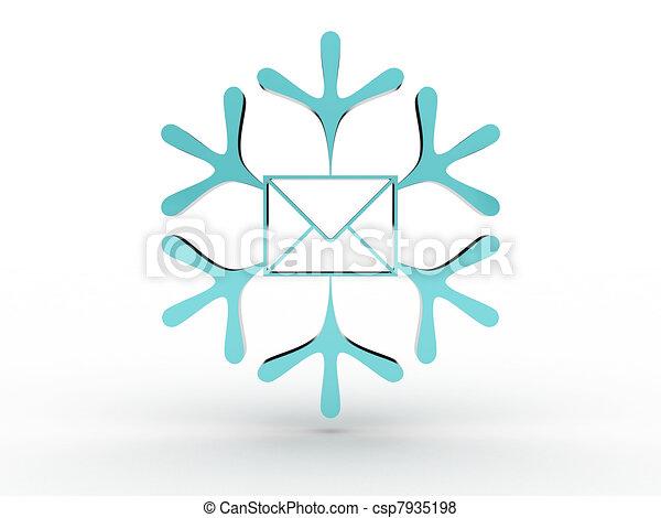 圖像, 信封, 被隔离, 背景。, 白色的雪花, 3d - csp7935198