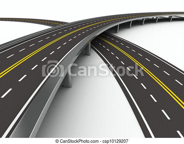 圖像, 被隔离, white., asphalted, 路, 3d - csp10129207