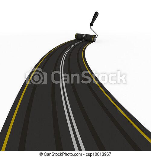 圖像, 被隔离, white., asphalted, 路, 3d - csp10013967