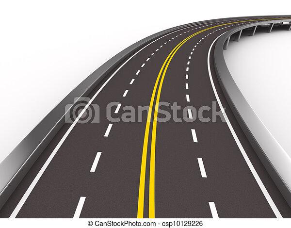 圖像, 被隔离, white., asphalted, 路, 3d - csp10129226