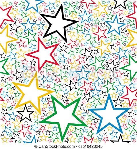 圖案, seamless, 星, 多种顏色 - csp10428245