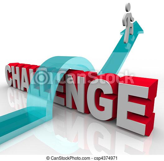 在上方, 跳躍, 挑戰, 成功, 達到 - csp4374971